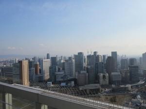 スカイビルの空中庭園(40階)から見た梅田のビル群